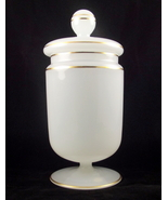 Vintage white gold translucent glass candy jar ... - $25.00