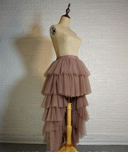 High Low Tulle Skirt Long Layered Tutu Skirt Outfit Plus Size  Brown Tulle Skirt image 2