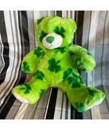 "Build a Bear Plush Green Teddy Toy 14"" Stuffed Animal Shamrock Clover St... - $23.08"