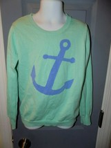 CREWCUTS J. Crew Anchor Nautical Mint Green Sweater Size 8 Girl's EUC - $24.92