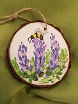Wood Slice Art, Wood Ornament, Bee Paintings, Purple Flowers, Gift Ideas - $22.00