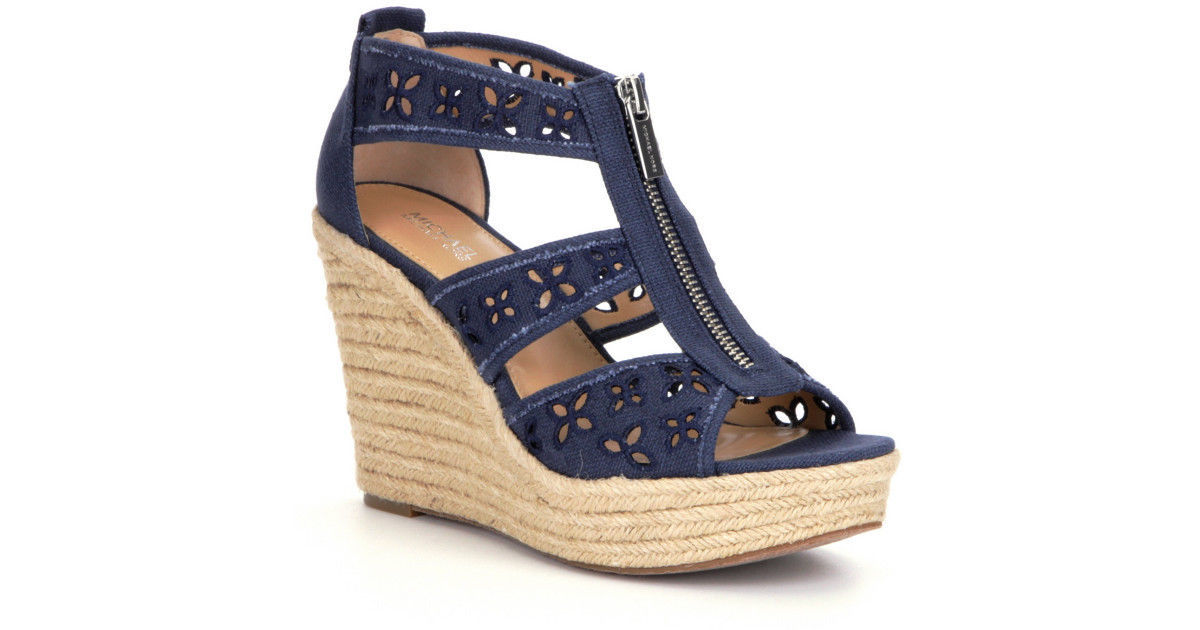 60ef8c77cb Women MICHAEL Michael Kors Damita Floral Wedge Sandals, Navy Size 9.5 Canvas
