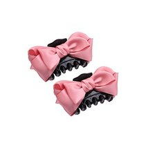 [Set Of 2]Handmade Mesh Bowknot Jaw Clip Hair Styling Claws, 3.7 inches, PINK