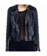 Handmade Woman Black Metal Studded Belted Leather Jacket - $269.99