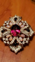 Authentic Vintage Jomaz Brooch Faux Rubies, Diamonds and Fire Opals Signed - $198.00