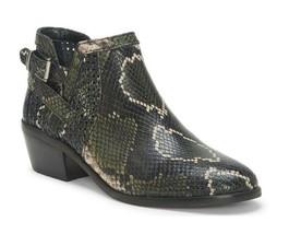 New Vince Camuto Women's Pamma Snake Print Block Heel Booties Olive Multi Size 8 - $89.09