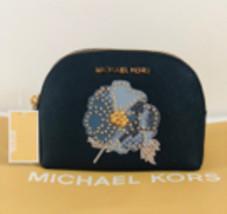 Michael Kors Jet Set Travel Leather Flower Make-up Travel Pouch - Navy $148 - $49.99