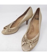 """Sofft 3"""" High Heel Mary Jane Slip-On Pumps Leather Beige Shoes Size 8 M - $16.30"""