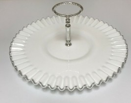Fenton White Milk Glass Silver Crest Ruffled Crimped Handled Tidbit Serving Tray - $53.45