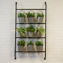 Industrial Style Metal Wall Mounted Planter with Nine Metal Hanging Buckets - $159.95