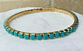 Single Line Stretch Bracelet Flexible Elastic TURQUOISE Gemstone Fashion... - $7.50