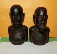 African Couple Tribal Hand Carved Wood Sculpture Figures Man & Woman  - $49.45
