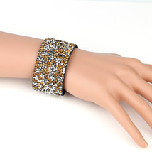 UNITED ELEGANCE Trendy Cuff Wristband With Sparkling Swarovski Style Cry... - $11.99
