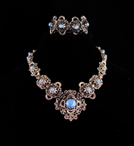 Antique Victorian necklace / Turquoise Bracelet / Vintage fancy metal work - $285.00