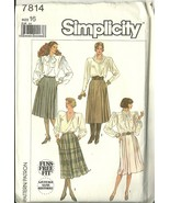 Simplicity Sewing Pattern 7814 Misses Womens Pleated Skirt Size 16 Used - $6.99