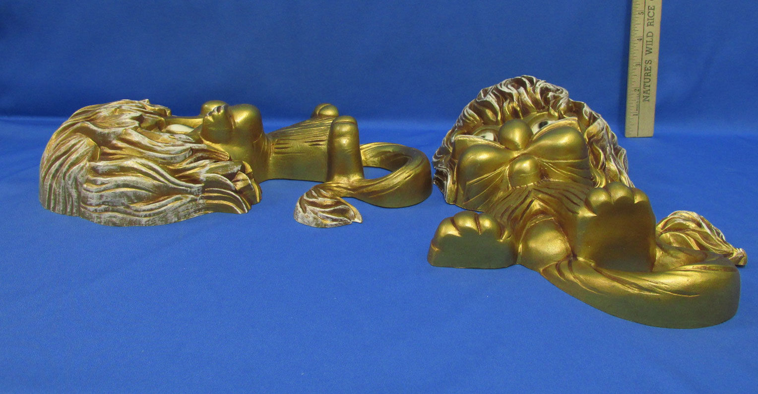 Vintage 1970's Homco Animated Wall Hanging Lion Cats Gold Tone Set of 2
