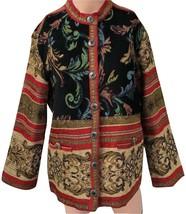 Women Sag Harbor Woven Tapestry Stand Collar Blazer Jacket Sz 10 - $35.99