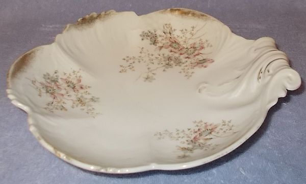 Old Antique German Dresden Floral Shell Bowl Clematis