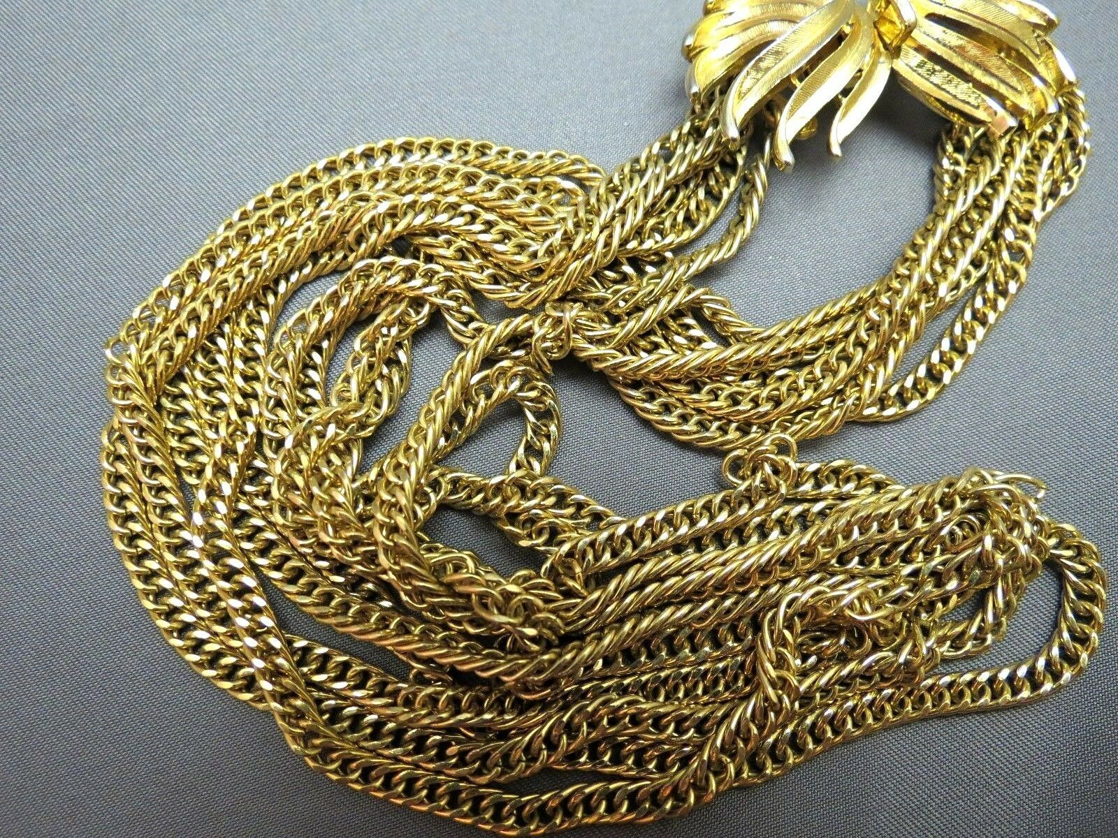 VTG Couture Trifari Necklace Mult Chain Gold Plated Designer Fancy Leaf Catch image 3