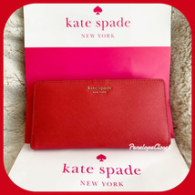 NWT KATE SPADE LEATHER CAMERON LARGE SLIM BIFOLD WALLET IN HOTCHILI - $39.88