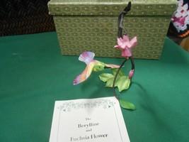 Beautiful FRANKLIN MINT Berylline & Fuchsia Flower by Alan Singer in Gre... - $39.19