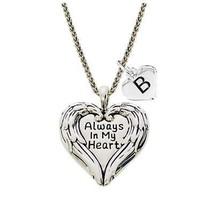 Custom Always in My Heart Angel Wings Silver Necklace Jewelry Choose Ini... - $19.94