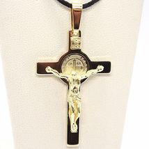 18K YELLOW GOLD CROSS, JESUS & SAINT BENEDICT MEDAL, BIG 2.1 INCHES, ITALY MADE image 4