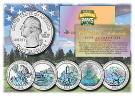 2012 America The Beautiful HOLOGRAM Quarters U.S. Parks 5-Coin Set w/Cap... - $12.82
