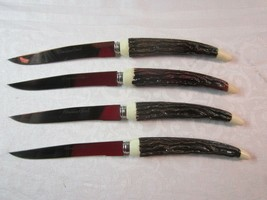 Set of 4 Vtg Stainless Steel Japan Steak Knife Knives w/ Faux Stag Antle... - $18.99