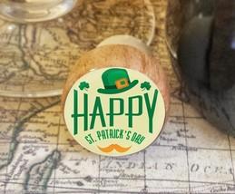 Wine Stopper, Happy St. Patrick's Day Handmade Wood Bottle Stopper, Iris... - $8.86