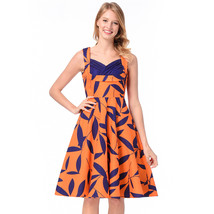 AOVEI Yellow Leaves Print Vintage Flared Night Out Party Pleated Swing Dress - $24.99