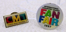 Vintage 2 Pin Set CMT Country Music Television & ICM Fan Fair 1997 - $17.82
