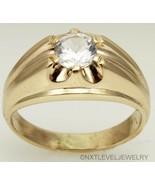 Vintage 1940's 1ct Antique Cut Natural White Sapphire 10k Solid Gold Men... - $787.05