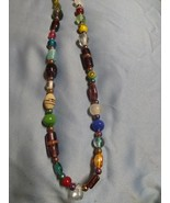 Multicolored glass bead necklace handcrafted - $15.00