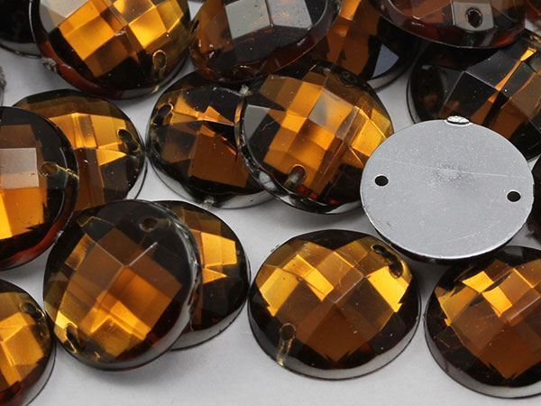 14mm Smokey Topaz CH25 Round Flat Back Sew On Gems For Craft 50 PCS