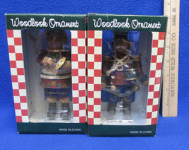 Woodlook Christmas Ornaments Jointed Drummer & Artist Resin NOS Set Of 2 - $14.84