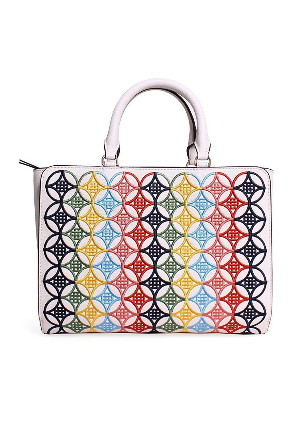 Tory Burch Robinson Embroidered Small Zip Tote in New Ivory Multi image 3