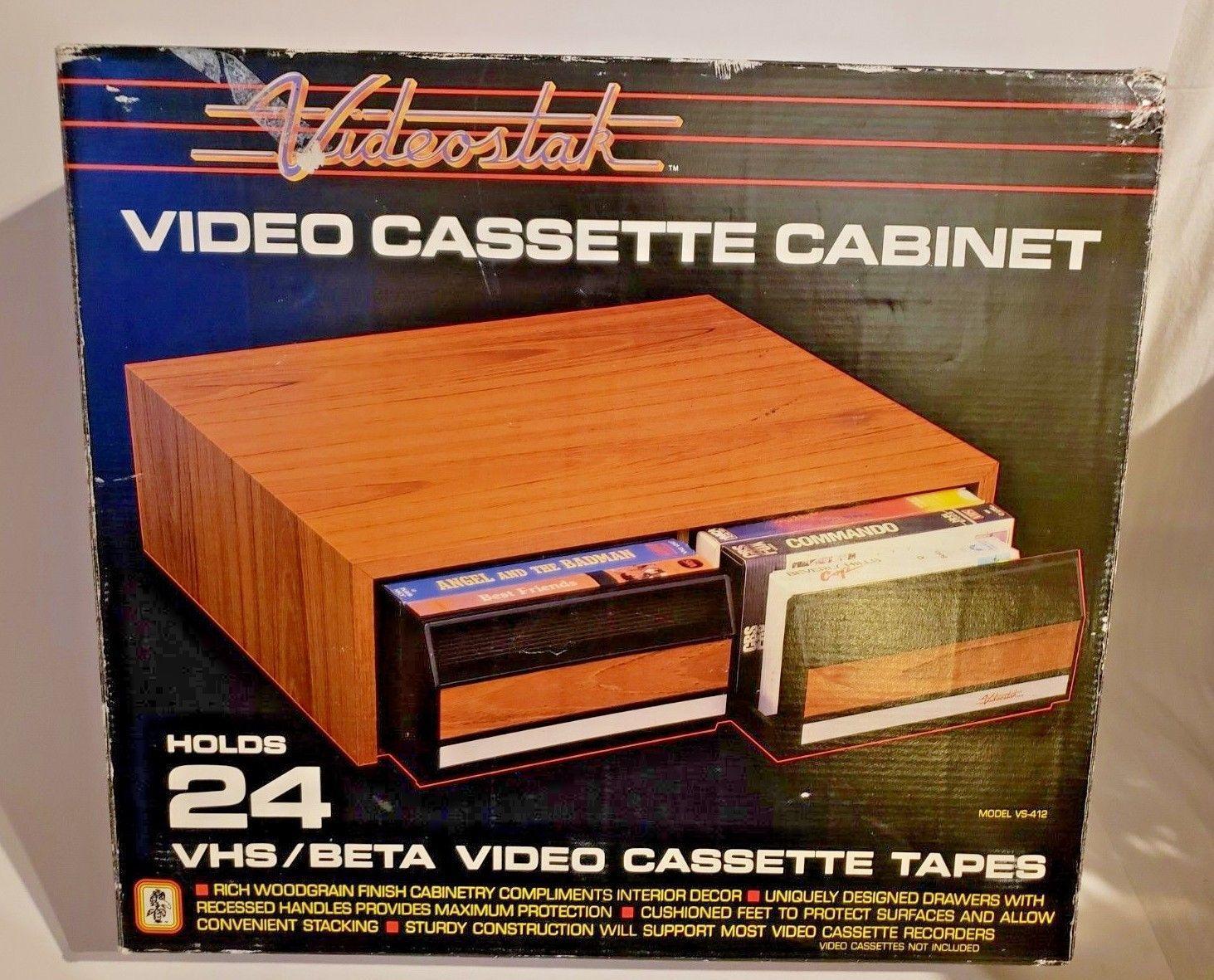 Vintage Videostak Video Cassette Cabinet Holds 24 VHS Tapes..In Original Box