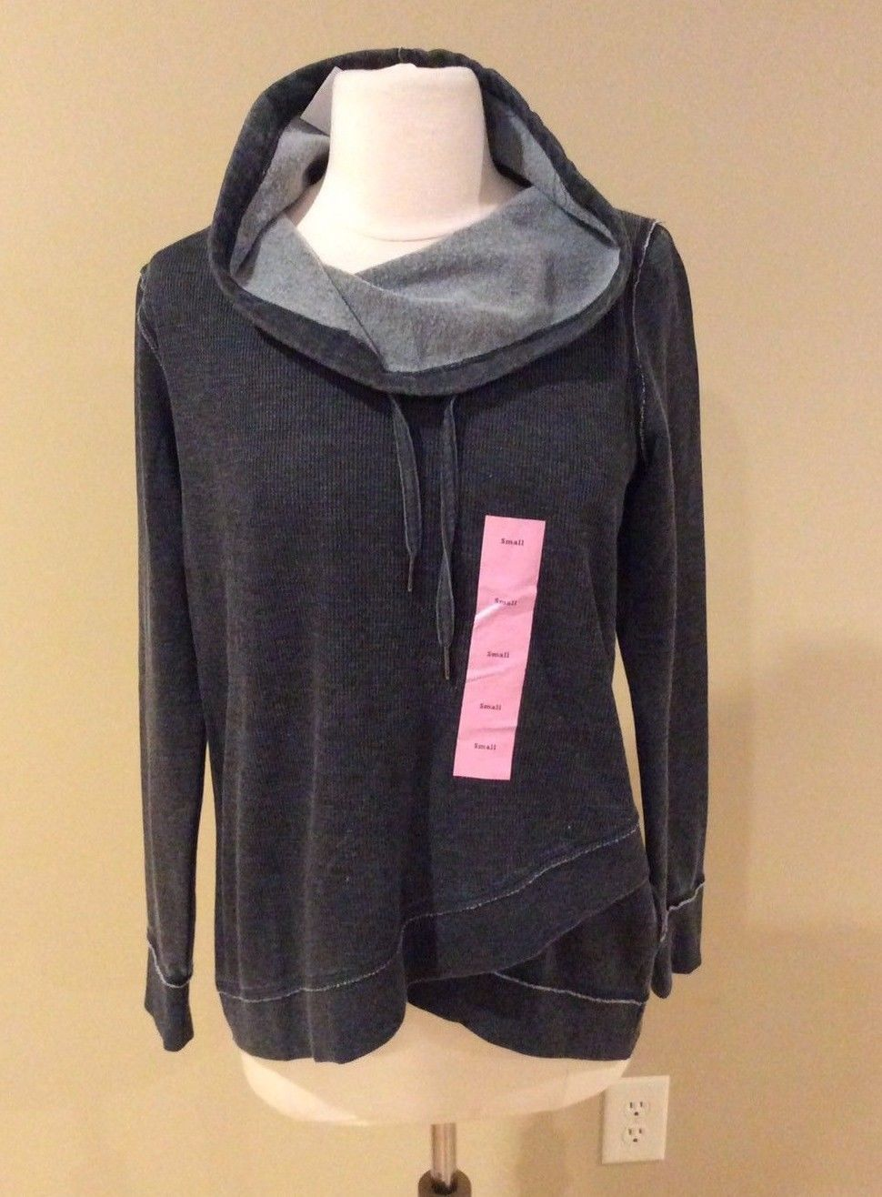 Primary image for Calvin Klein Pullover Sweatshirt Waffle Gray Shirt Womens S Top Long Sleeve