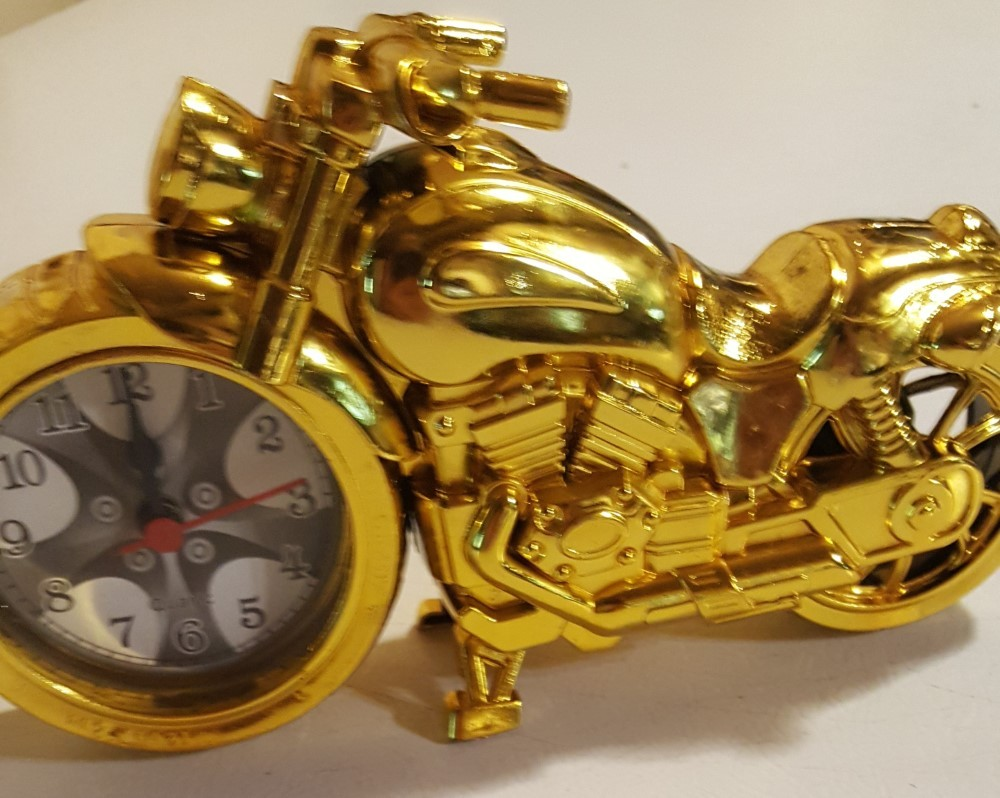 Motorcycle Alarm Clock (Gold)