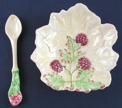 Vintage Brentleigh Ware Staffordshire England Raspberry Leaf Dish + Spoon - $12.99
