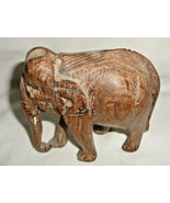 """Wooden Elephant Hand Carved Sculpture Figurine Collectible 4 1/2"""" African Decor - $9.49"""