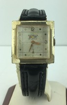 Benrus Square 10k Gold Filled Watch 21 Jewels with Checkered Dial - $148.67