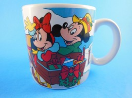 Vintage Mickey Mouse & Minnie in Sleigh Christmas Mug Cup Disney Applaus... - $11.87