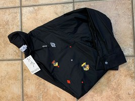 VINTAGE FRENCH CONNECTION GAMBLING CARDS BLACK BUTTON DOWN SHIRT LS  MEN... - $14.39