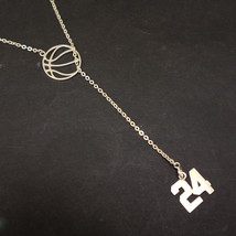 925 Sterling Silver Kobe Bryant Number 24 Lariat Y Necklace, Memorial RIP - $62.00