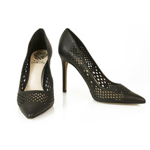 Vince Camuto Black Leather Laser Cut Pumps Pointed Toe Slim Heel Shoes s... - $197.01