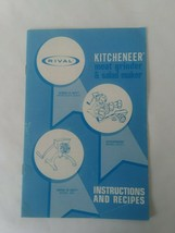 Rival Kitcheneer Grind-o-Mat 354 Meat Grinder & Salad Maker Instruction ... - $10.88