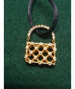 Swarovski Crystal Gold Tone Weave Purse Necklace on Cord - $40.00