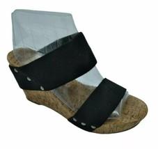 Womens Lucky Brand Magnolia Black Stretch Straps Cork Wedge Stud Sandals... - $19.39
